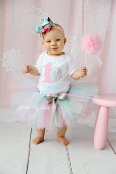 Winter ONEderland Pink and Aqua Snowflake Winter Themed Birthday Tutu Outfit-Snowflake Princess Tutu Set *Bow NOT Included* 1st Birthday Outfits, Birthday Tutu, Girl First Birthday, First Birthday Parties, First Birthdays, Birthday Ideas, Cupcake Birthday, Winter Onederland, Winter Wonderland Party