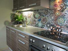 Recycled ceramic mosaic backsplash in the kitchen or bathroom
