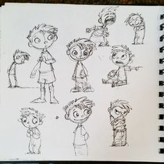 Some of my little boy doodles and sketches. #boy #Wendy_Grieb #characterdesign #penandink #doodle #sketches #sketchbook #poses #art