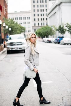 Leather jacket. Fall jacket. Suede jacket. Neutrals. Grey. City style. Street style. All saints. Hudson. Nordstrom. Sole society. Gigi New York. Free people. Ivy park. Happily Ever Allen. Chase Allen. Brit Allen. Men's fashion. Women's fashion. Couples fashion. Blogger. Blogger style. Street style. Ootd. Posing guide.