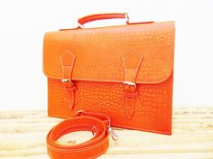 Orange Leather Messenger Bag for Women Macbook Air Pro Laptop