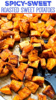 Spicy-Sweet Roasted Sweet Potatoes Spicy-Sweet Roasted Sweet Potatoes are coated in a spice mixture that is both sweet and spicy and then roasted in a hot oven until brown and crispy. Oven Roasted Sweet Potatoes, Roasted Potato Recipes, Veggie Recipes, Vegetarian Recipes, Dinner Recipes, Cooking Recipes, Healthy Recipes, Sweat Potato Recipes, Gastronomia