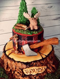 Lumberjack Birthday Cake , edible fondant wood