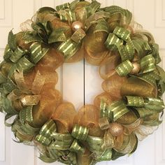 Extra Large Green and Gold Holiday Wreath; Christmas Wreath; Christmas Decor; Fireplace Wreath; Handmade Wreath; Mesh Christmas Wreath by ChewsieCreations on Etsy