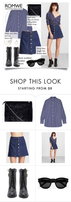 """Navy blue skirt!"" by stellacolor21 ❤ liked on Polyvore featuring Boohoo, Totême and Yves Saint Laurent"