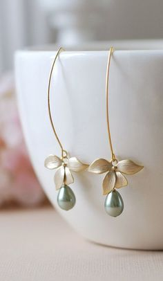 Gold Flower Sage Green Pearls Earrings. Sage Green