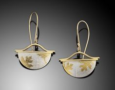 "CRESCENT FRENCH LOOPS | 24kg foil, 18kg, fine silver | 1 ½' X 1 ¼""  ||  Barbara McFadyen Jewelry"