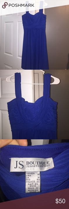 Formal Dress Royal blue, formal dress with zipper closure in back. I've worn this dress to a variety of events; weddings, rehearsal dinners, chaperoning prom, New Year's Eve, etc. Its just a great piece to throw on when you want to impress! Jersey Couture Dresses