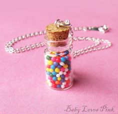 Items similar to Rainbow Candy Bottle Necklace on Etsy Bottle Jewelry, Candy Jewelry, Bottle Charms, Bottle Necklace, Diy Necklace, Small Bottles, Bottles And Jars, Glass Bottles, Jar Crafts