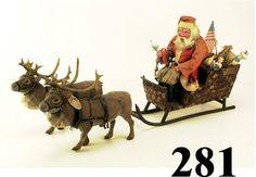 Lot:281: Very Large Sleigh with Santa and 2 Noddi, Lot Number:281, Starting Bid:$2500, Auctioneer:Noel Barrett, Auction:281: Very Large Sleigh with Santa and 2 Noddi, Date:03:00 AM PT - Nov 8th, 2003