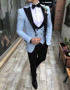 wedding suits men Sky Blue With Black Lapel Suits For Men Custom Made Terno Slim Groom Custom 3 Piece Wedding Mens Prom Suits For Men, Dress Suits For Men, Men Dress, Mens 3 Piece Suits, Prom Dresses For Men, Suit For Men, Blue Dresses, Blazer Outfits Men, Casual Blazer