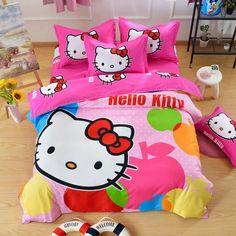 Cartoon Duvet Cover Set Kids Bedding,Girls Princess Polyester Bedding Set Hello Kitty Bedding Sets Anime Print Sheet Sets Gift for Granddaughter (Full) //Price: $43.52 & FREE Shipping //     #hashtag3