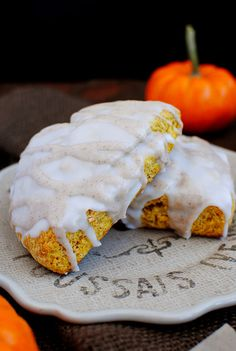 Starbucks Clone Pumpkin Scones taste exactly like the real thing. Cakey vs crumbly, these sweet, spiced scones are a real treat! | iowagirleats.com