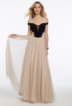 58cf758a5f5931 Off the Shoulder Two Tone Ballgown from Camille La Vie and Group USA