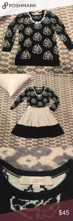 LOFT Black & White Floral Sweater Black sweater with white floral pattern. Incredibly cozy for the winter! Looks great for work - either tucked in or placed over a pencil skirt. Gently worn & washed with no pilling.  Skirt also listed LOFT Sweaters Crew & Scoop Necks
