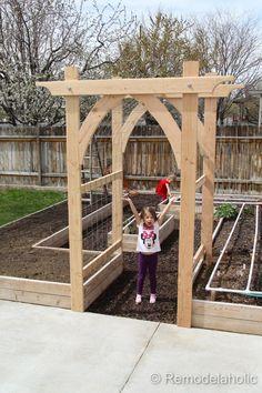 Vegetable Garden Arbor DIY garden pergola Build an Elevated Planter Box (and save your back! Garden Types, Design Jardin, Vegetable Garden Design, Vegetable Gardening, Raised Vegetable Gardens, Raised Gardens, Vegetables Garden, Backyard Vegetable Gardens, How To Plan A Vegetable Garden