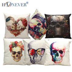 Stylish Skull Cushion Cover Cotton Linen Throw Pillow Case Cool Men Cushion Covers Bar Decor