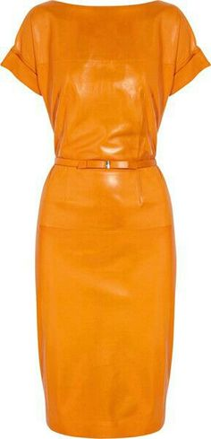 New Women Cocktail Leather Dress Real Lambskin Leather Bodycon Dress Leather Bodycon Dress, Leather Dresses, Mode Orange, Cuir Orange, Orange Leather, Love Fashion, Womens Fashion, Dress Fashion, Mellow Yellow