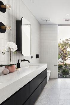 Timeless Bathroom, Modern Bathroom, Small Bathroom, Minimal Bathroom, Black White Bathrooms, Yellow Bathrooms, Bathroom Ceiling Light, Ceiling Lights, Living Vintage