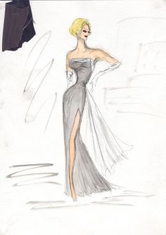 costume design sketch of Lucille Ball