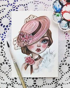 New watercolor postcard Inspired by a charming photo Watercolor Postcard, Watercolor Drawing, Watercolor Paintings, Art Drawings Sketches, Disney Drawings, Cute Drawings, Pretty Art, Cute Art, Arte Tim Burton