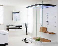 bagno in stile moderno con doccia in #vetro