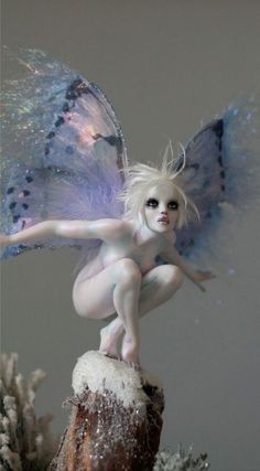 "the-autumn-moon-is-bright: "" Frosty Tinkerbell Winter Faerie OOAK by Nicole West Elfen Fantasy, Art Sculpture, Sculptures, Fantasy Kunst, Fantasy Dolls, Dark Fantasy Art, Illustration, Ooak Dolls, Barbie Dolls"
