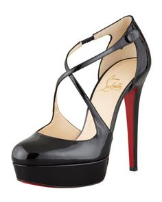 Borghese Patent Platform Red Sole Pump by Christian Louboutin at Bergdorf Goodman.