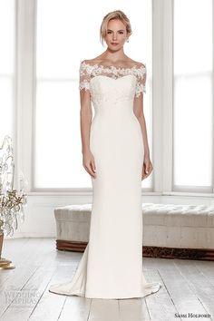 signature collection lace shrug off the shoulder sweetheart sheath #weddingdress #weddings #bridal #sheathweddingdress #sposa