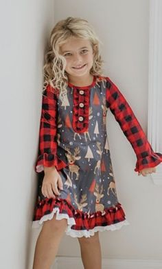 Girls Christmas Reindeer Lounge Gown & Shorts Set 2 to 14 Years