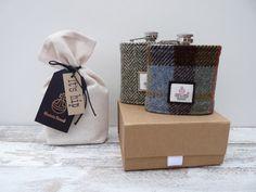 Harris Tweed Hip Flask Scottish Gift Groomsman by TheCrimsonCoo