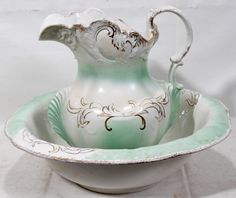 pitcher and basin set | 022416: DEMI PORCELAIN ANTIQUE, PITCHER AND BOWL SET,