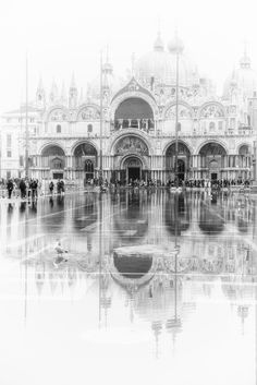 Misty Venice in November - Piazza San Marco in November with a high tide and mist