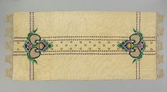 """Arts and Crafts Runner by Josephine Cooper, ca. 1912. Linen, plain weave cloth embroidered with silk. 23-1/4""""x54""""."""
