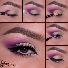 Take your makeup up a notch with step by step pictorials on gorgeous and colorful eye makeup for brown eyes and create fresh and new makeup looks. Purple Eyeshadow, Eyeshadow Makeup, Lip Makeup, Beauty Makeup, Eyeliner, Eyebrow Beauty, Makeup Inspo, Makeup Art, Makeup Inspiration