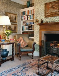 English style with Arts and Crafts wallpaper i would like to do that raised fire dog in our fireplace