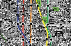 Today in awesomeness: British artist Jenni Sparks created a super detailed map of New York City?entirely by hand. The map shows most of Manhattan, parts of Brooklyn and Queens, plus Liberty and. New York City Map, City Maps, Nyc Subway Map, East Village, The Guardian, Designer, How To Draw Hands, Hand Drawn, Sketches