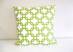 15% OFF SALE Decorative Pillow Cover. 18 x 18 inch Chain Link. Throw Pillow.Green and White. $12.75, via Etsy.