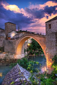 Last light in Mostar - city and municipality in Bosnia and Herzegovina, i think this is the bridge where they hold that jumping off competition