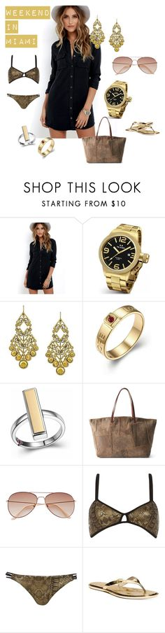 """""""weekend in Miami"""" by nbeaudry on Polyvore featuring OBEY Clothing, TW Steel, 1928, AmeriLeather, H&M, River Island, Michael Kors, weekendoutfit, beachwear and metallics"""