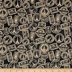 Destination Paris Stamps Black from @fabricdotcom  Get your passport stamped with this retro themed fabric designed by Whistler Studios for Windham! Perfect for quilting, apparel and home decor accents. Colors include black, cream and shades of grey.