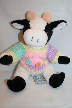 "Chrisha Playful Plush Cow 9"" Black White 1999 Knit Sweater Flower Stuffed Animal"