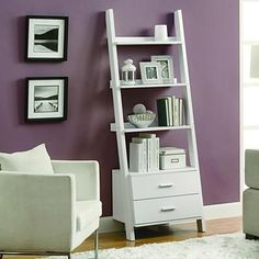 """Buy White 69""""H Ladder Bookcase with 2 Storage Drawers by Michael Anthony Furniture on OpenSky"""