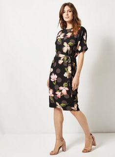 0e3b1e831ec3e Lily   Franc Black Floral Print Batwing Dress