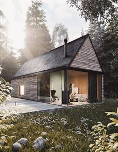 Mountain Cottage ♥ Render by Are you looking for a support for your interior and and architectural visuals ?… Mountain Cottage ♥ Render by Francesco Stefanizzi Are you looking for a support for your interior and and architectural visuals ? Modern Tiny House, Tiny House Cabin, Casas Containers, Mountain Cottage, Wood Interior Design, Weekend House, Cabin Design, Home Fashion, Future House