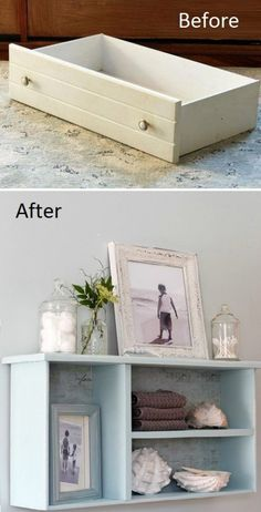 DIY Dresser drawer Bathroom Shelf Instruction - Practical Ways to Recycle Old Dr., DIY Dresser drawer Bathroom Shelf Instruction - Practical Ways to Recycle Old Dr. Refurbished Furniture, Repurposed Furniture, Furniture Makeover, Vintage Furniture, Diy Furniture Repurpose, Dresser Repurposed, Recycled Home Decor, Repurposed Items, Classic Furniture