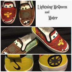 Designed from Disney/Pixar movie Cars. Custom hand painted Cars shoes. These two featuring two of the main characters Mater and Lightning McQueen. Lightning McQueens bonnet design is from the movie Cars 2. Can change characters to requests. Heel colour and design can also be