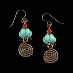 Southwestern Copper Spirals - Turquoise and Copper Spiral Earrings - Beaded Earrings - Unique Jewelry - Niobium earrings    Rustic antiqued copper