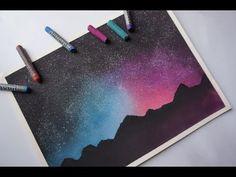 COMO PINTAR UN PAISAJE ESTRELLADO || FÁCIL || Tizas pastel || Pasteles secos || Speed Drawing - YouTube