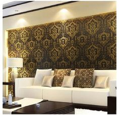 This would work in our bedroom! It's actually curtains, but I might stoop to put up black, gold, and red wallpaper. Horrors!